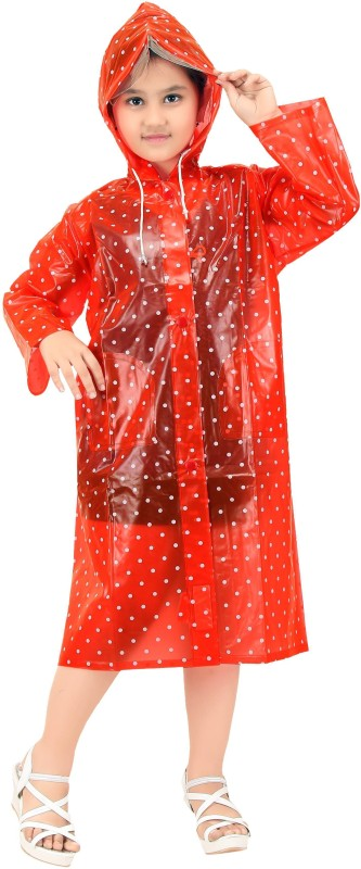 Goodluck Polka Print Girls Raincoat