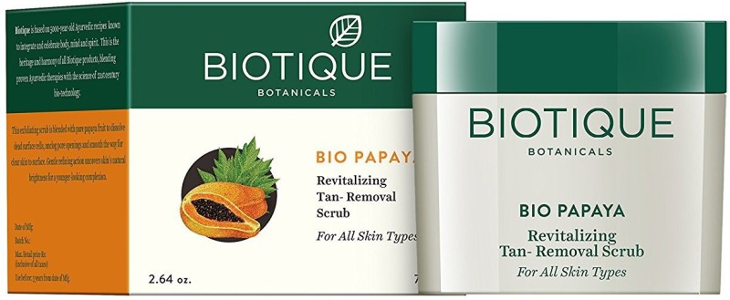 Biotique Bio Papaya Revitalizing Tan-Removal Scrub for All Skin Types Scrub(75 g)