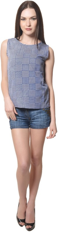 StarShop20 Party Sleeveless Solid Women's Blue Top