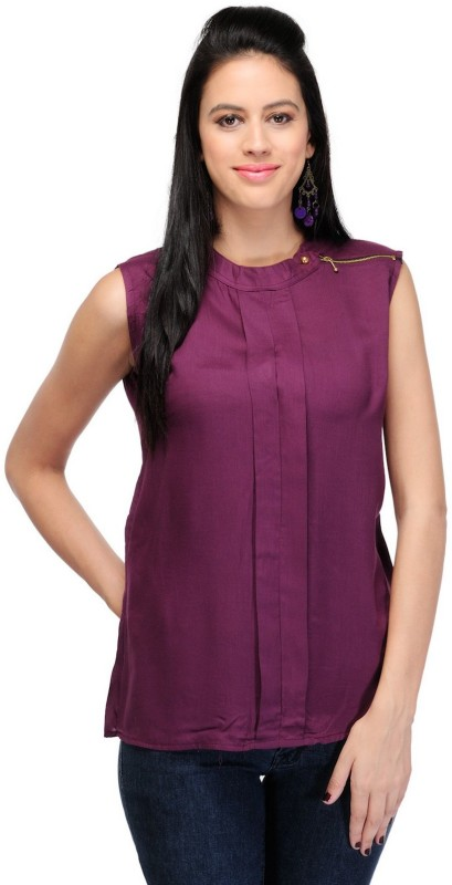 StarShop20 Party Sleeveless Solid Women's Purple Top