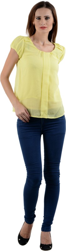 StarShop20 Party Balloon Sleeve Solid Women's Yellow Top