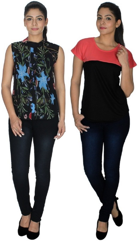 StarShop20 Party Sleeveless Floral Print, Solid Women's Multicolor Top
