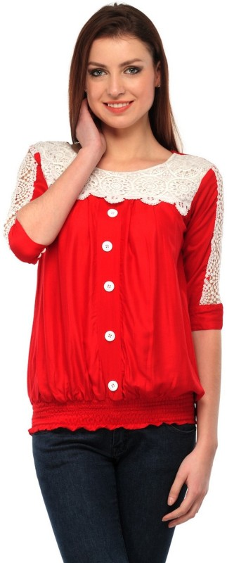 StarShop20 Party 3/4th Sleeve Solid Women's Red Top