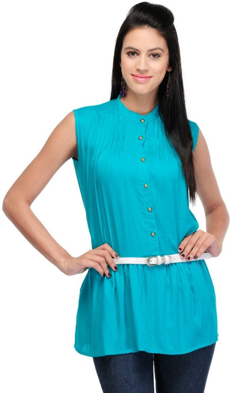 StarShop20 Party Sleeveless Solid Women's Green Top
