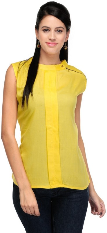 StarShop20 Party Sleeveless Solid Women's Yellow Top