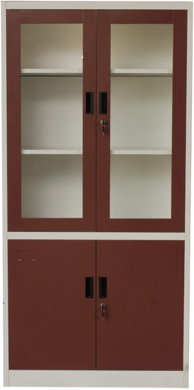 Woodness Metal Close Book Shelf(Finish Color - dual tone merun white)
