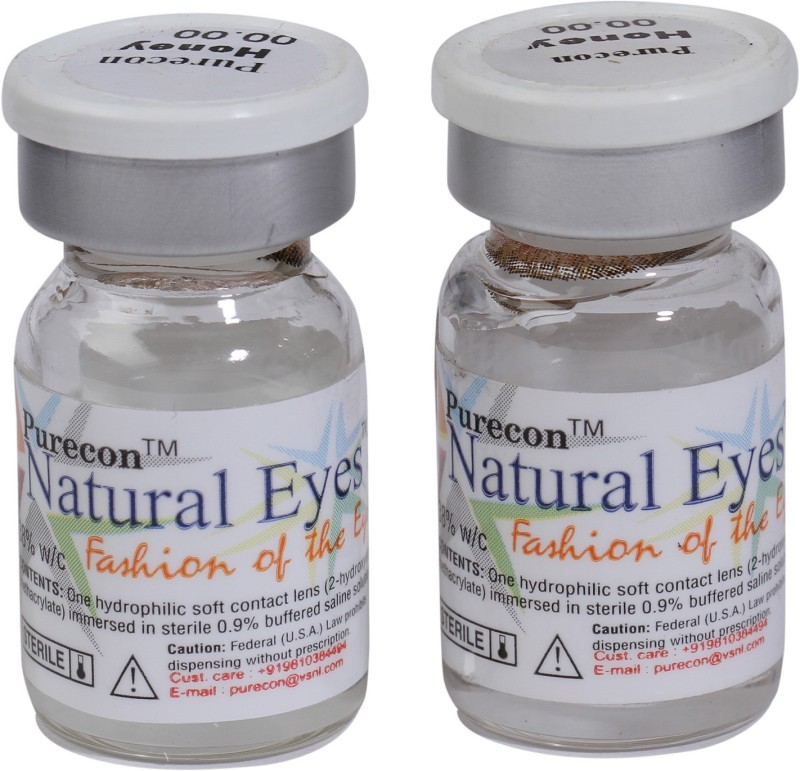 Purecon Natural Eyes Quaterly Contact Lens(0, Honey, Pack of 2)
