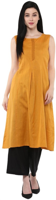 Rangmanch by Pantaloons Solid Women's A-line Kurta(Yellow)
