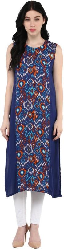 Rangmanch by Pantaloons Printed Women's Flared Kurta(Blue)