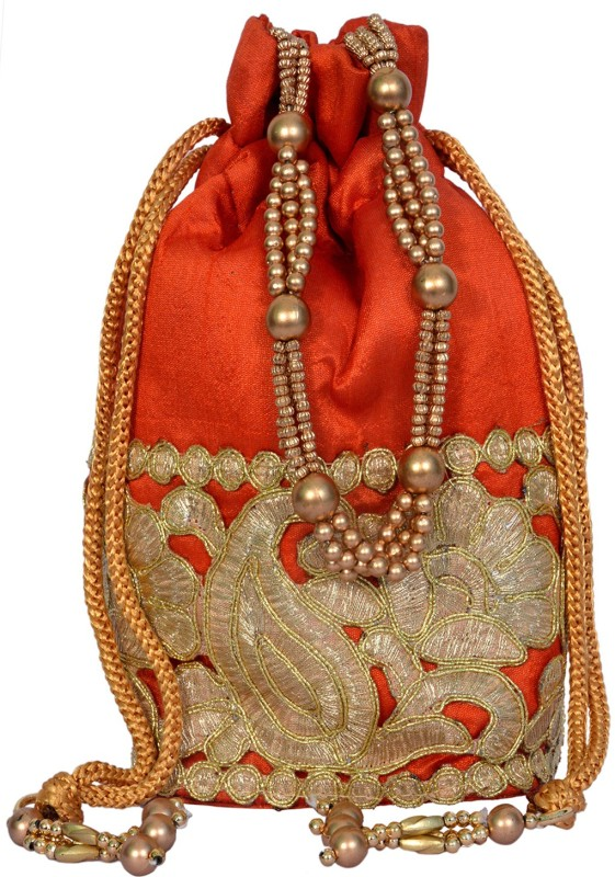 Craft Trade Ethnic Rajasthani Potli Bag For Women Potli(Orange)
