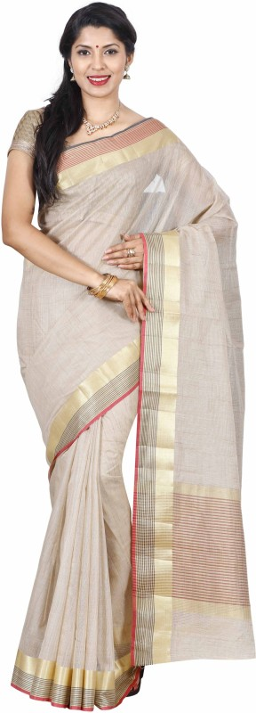 The Chennai Silks Plain Bollywood Tussar Silk Saree(Beige)