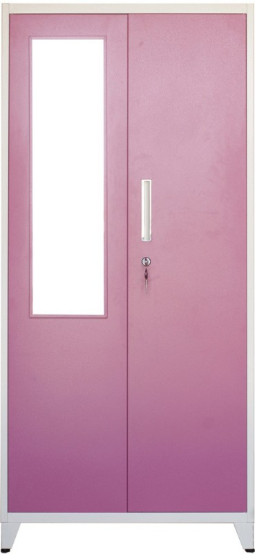 Woodness Metal 2 Door Wardrobe(Finish Color - Dual tone Pink White, Mirror Included)