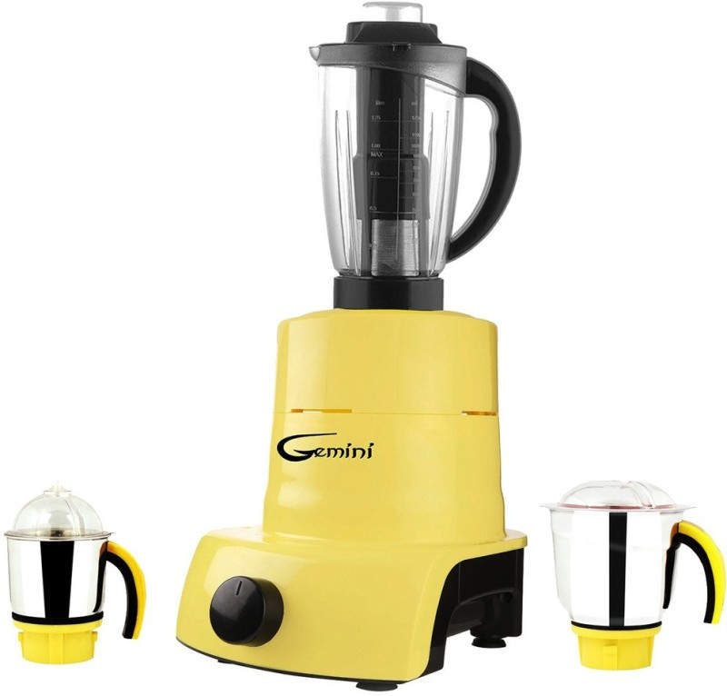 Gemini ABS Plastic YPMA17_528 750 W Juicer Mixer Grinder(Yellow, 3 Jars)