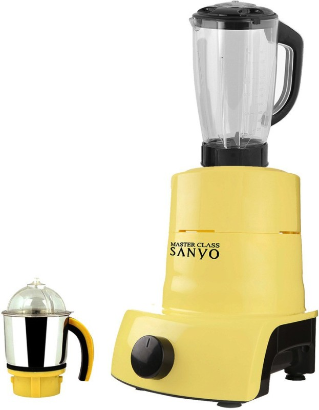 MasterClass Sanyo ABS Plastic Body Brand Outlet model_MA_570 ABS Plastic YPMG17_570MA 750 W Juicer Mixer Grinder(Yellow, 2 Jars)