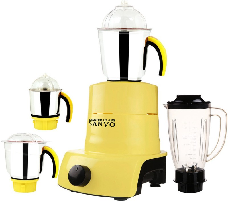 MasterClass Sanyo ABS Plastic Body Brand Outlet model_MA_575 ABS Plastic YPMG17_575MA 1000 W Juicer Mixer Grinder(Yellow, 4 Jars)