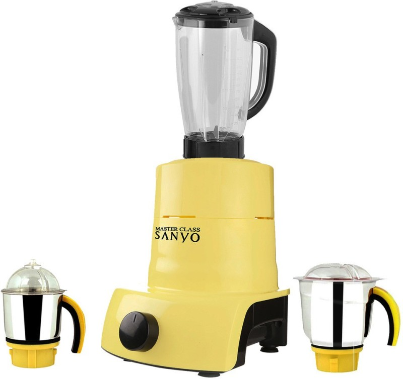 MasterClass Sanyo ABS Plastic Body Brand Outlet model_MA_568 ABS Plastic YPMG17_568MA 600 W Juicer Mixer Grinder(Yellow, 3 Jars)