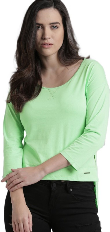 Roadster Solid Womens Round Neck Green T-Shirt