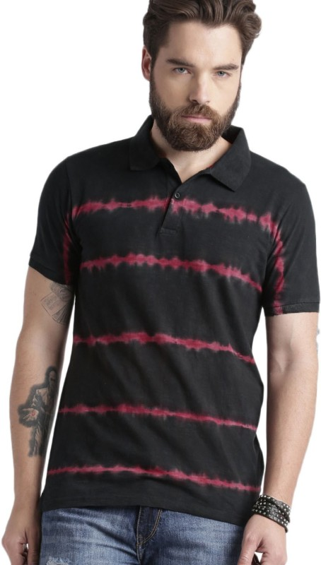 Roadster Solid Mens Polo Neck Black, Maroon T-Shirt