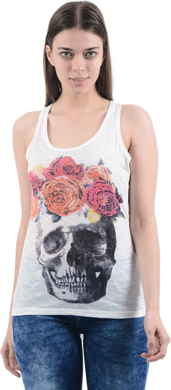 Ed Hardy Casual Sleeveless Printed Women's White Top