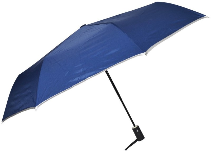 Murano auto open with Safety Golden Handle 3 fold fashion Blue color Umbrella(Blue, Silver)