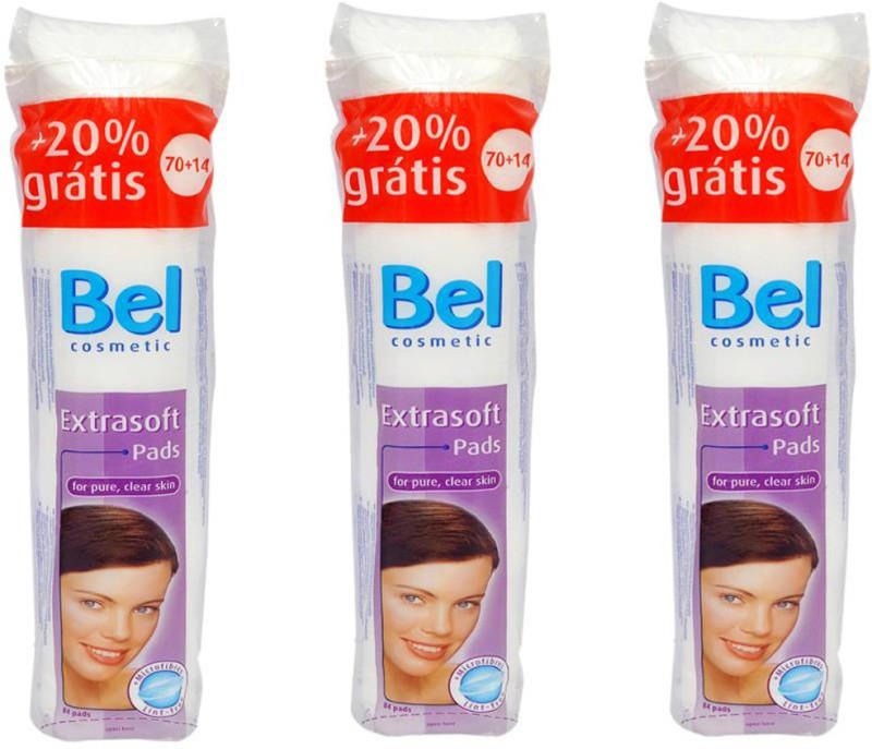 BEL Extra soft cosmetic pads with microfibers ideal for makeup removal and face cleansing (Set of 3 packs)(84 Units)