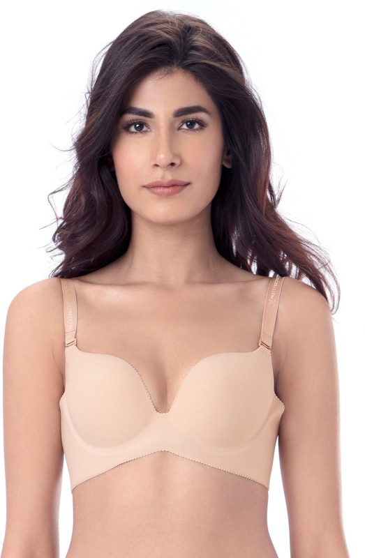 PrettySecrets by PrettySecrets Womens Plunge Lightly Padded Bra(Beige)