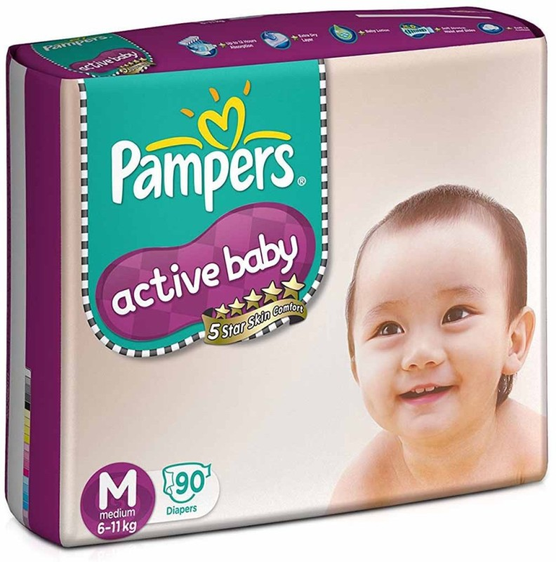 Pampers Active Baby Diapers - M(90 Pieces)