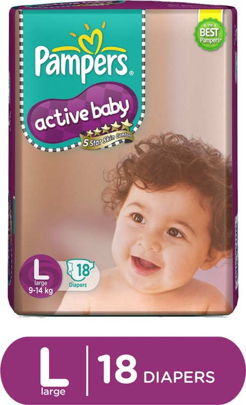 Pampers Active Baby Diapers Large Size - L(18 Pieces)