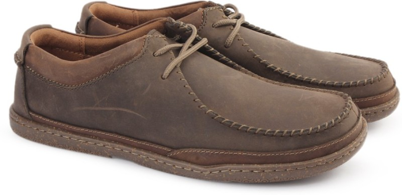 Clarks TRAPELL PACE DARK BROWN LEA Loafers For Men(Brown)