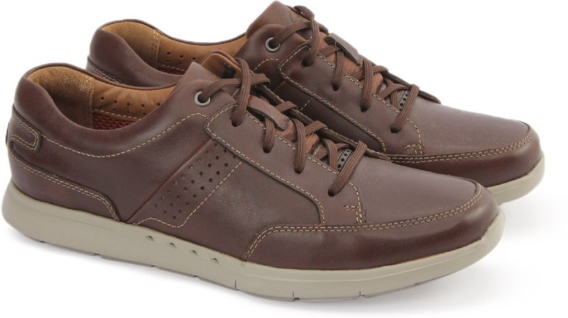 Clarks UNLOMAC LACE TAN LEATHER Lace Up For Men(Tan)