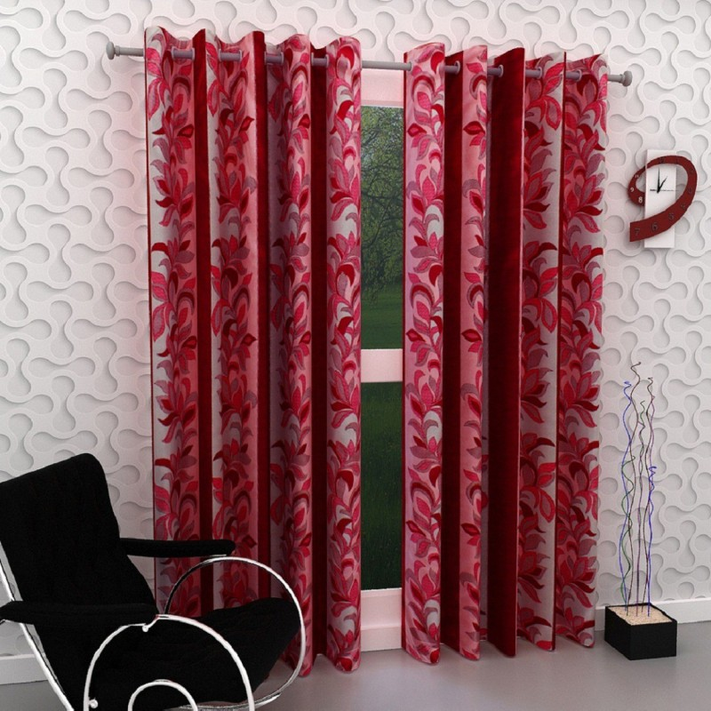 Panipat Textile Hub Polyester Red Floral Eyelet Window Curtain(152 cm in Height, Pack of 2)