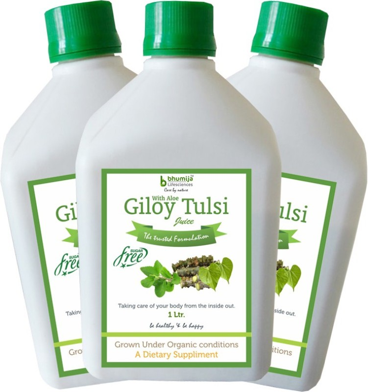 Bhumija Lifesciences Giloy Tulsi Juice (Sugar Free) Energy Drink(3x1 L, Unflavoured Flavored)