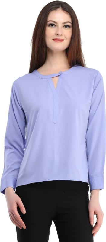 ENTEASE Casual Full Sleeve Solid Women's Purple Top
