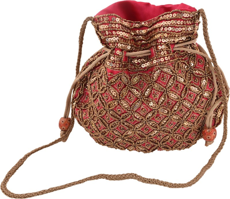 Craft Trade Silk Beaded Work Drawstring Multicolor Potli Bag (21 X 4 X 22) Potli(Red)