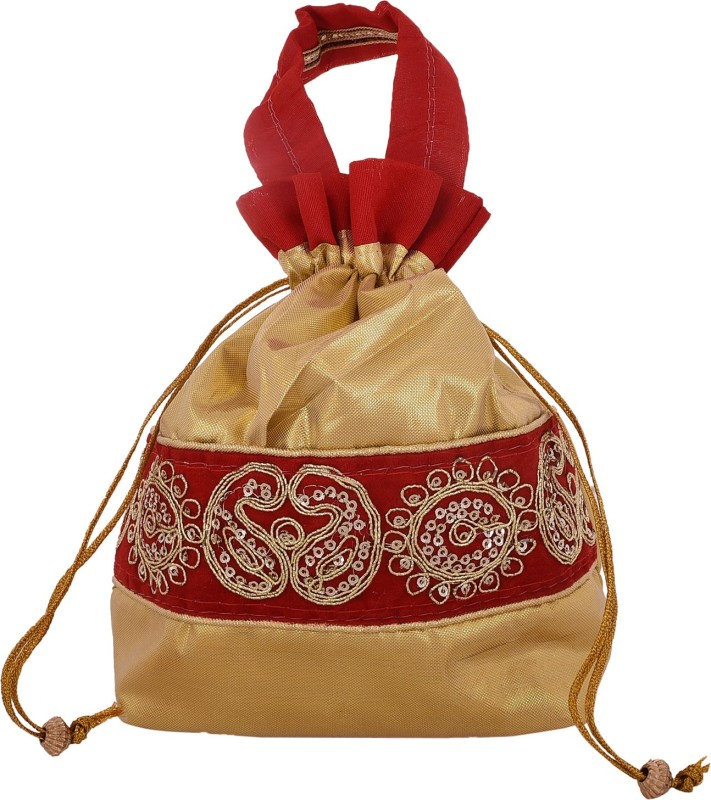 Craft Trade Silk Embellished Work Drawstring Multicolor Potli Bag (14 X 4 X 20) Potli(Red)