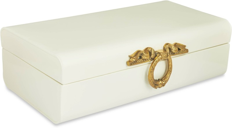 Elan Metal Trunk(Finish and Fabric Color - Off White)