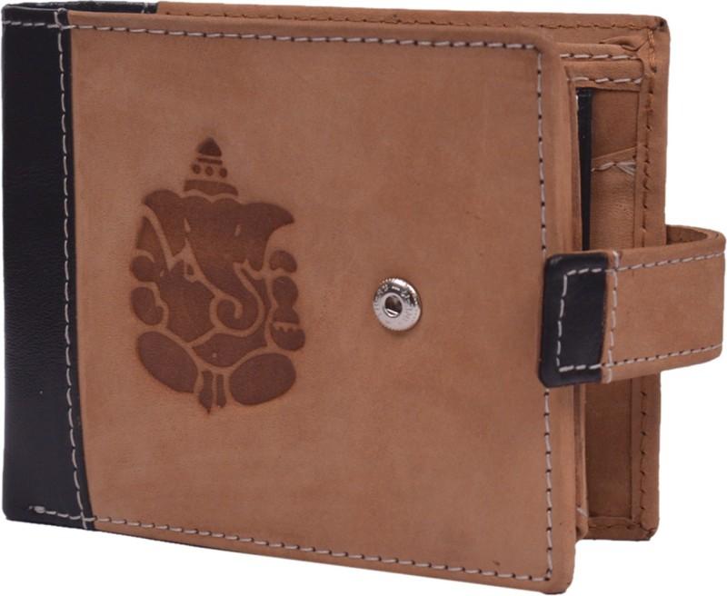Krosshorn Men Tan Genuine Leather Wallet(9 Card Slots)
