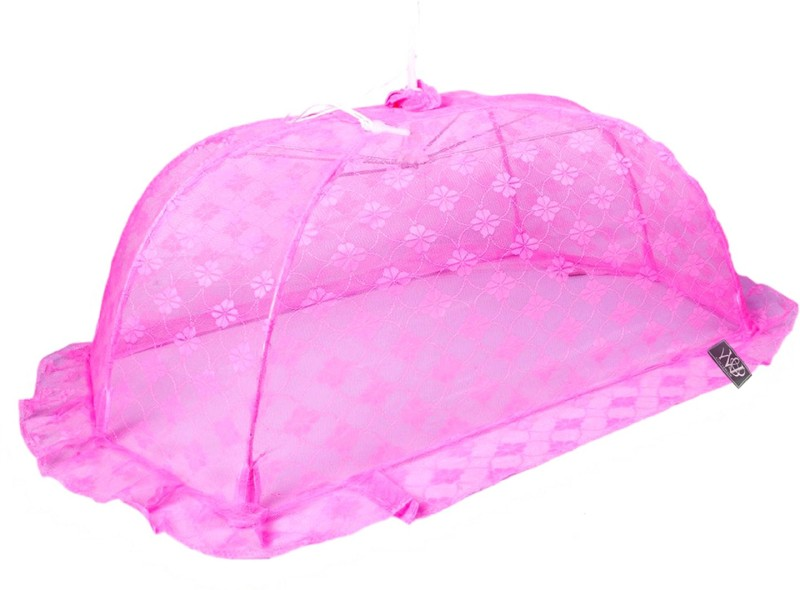 Weavers Villa Polyester Infants New Born Canopy Style Baby (0-12 Months) Mosquito Net(Purple) New Born Canopy Style Baby (0-12 Months)