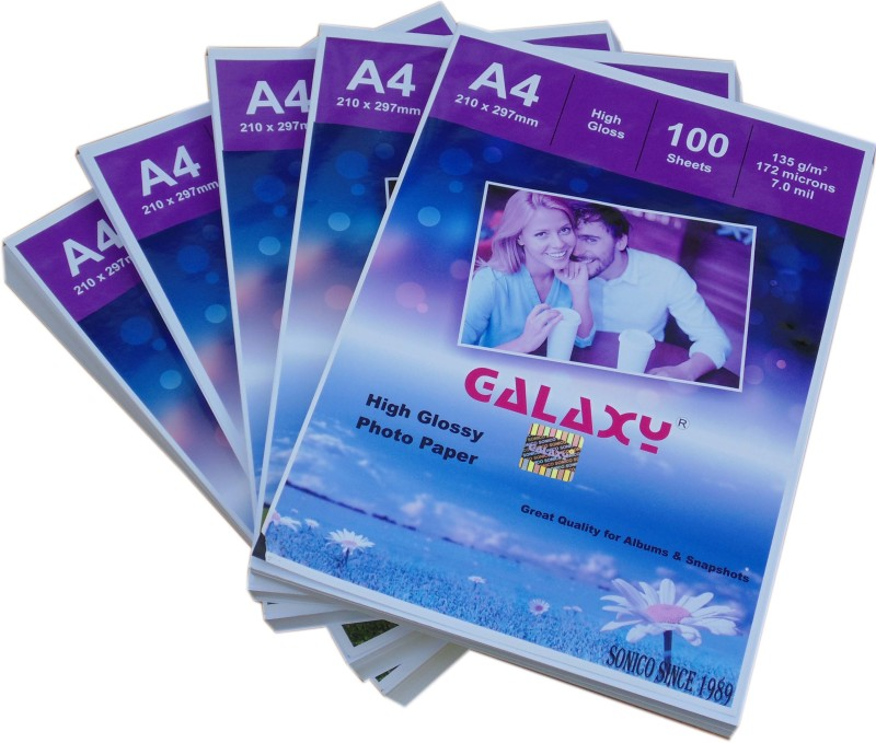 Galaxy inkjet photo paper Glossy 135 gsm (100 sheet per pack) A4 Photo Paper(Set of 5, White)