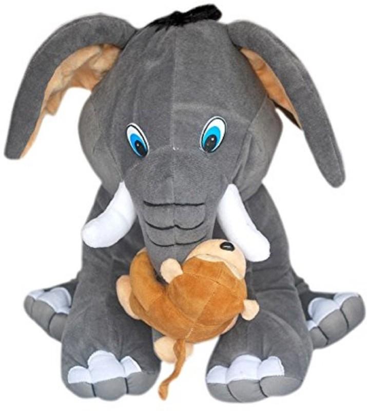 KAYKON Elephant with Monkey Plush Stuffed Toy Premium Quality Fabric - 42...