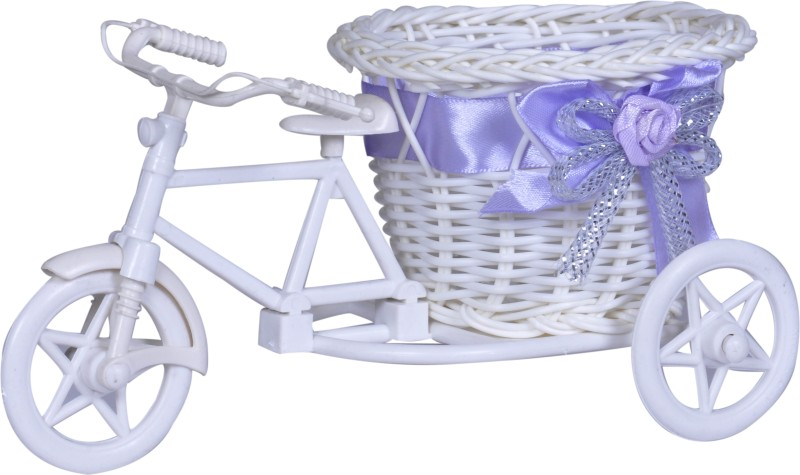 Ryka Collection Flower Rikshaw Rattan Flower Basket with Artificial Flower & Plant(W: 6 cm x H: 7.5 cm x D: 5.5 cm)