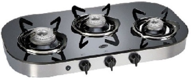 Glen Glen GL-1036-GT-Ai Glass Cooktop Glass Automatic Gas Stove(3 Burners)