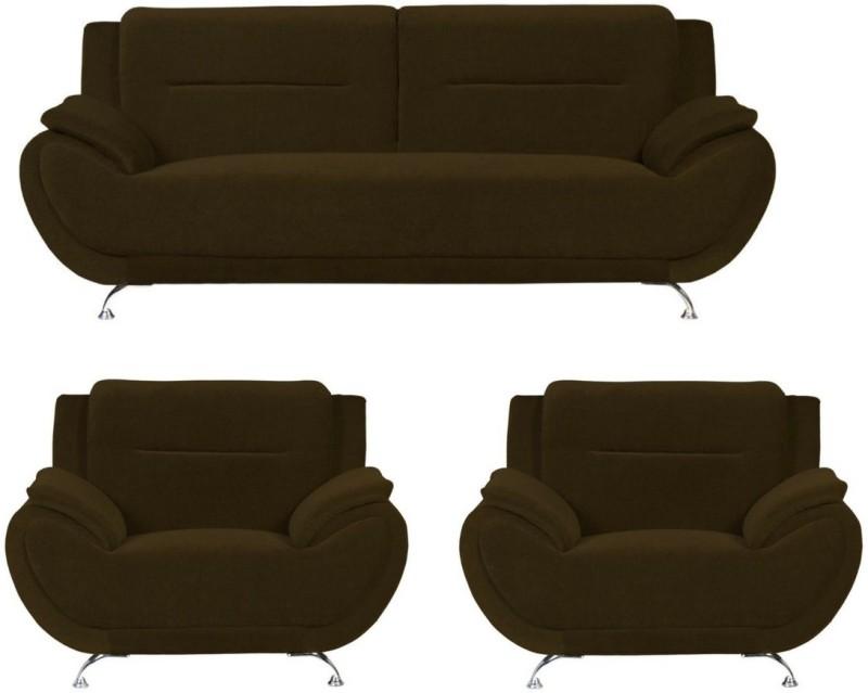 GIOTEAK Fabric 3 + 1 + 1 BROWN Sofa Set(Configuration - 3+1+1)