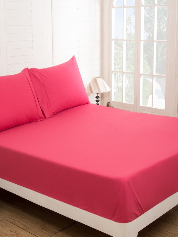 Maspar 210 TC Cotton Double Plain Bedsheet(Pack of 1, Pink)