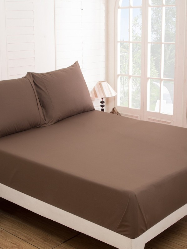 Maspar 210 TC Cotton Double Plain Bedsheet(Pack of 1, Brown)