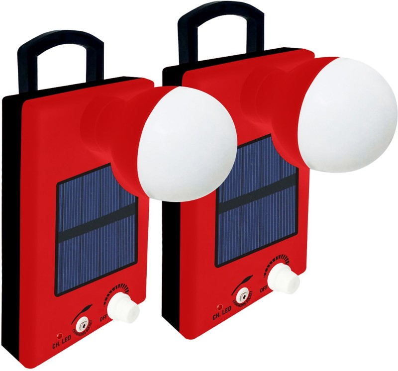Ritiklite 12 LED Bulb (Set of 2) With Charger Rechargeable Solar Lights(Red, Black)