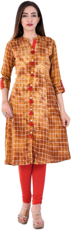Style N Shades Checkered Women's A-line Kurta(Brown)