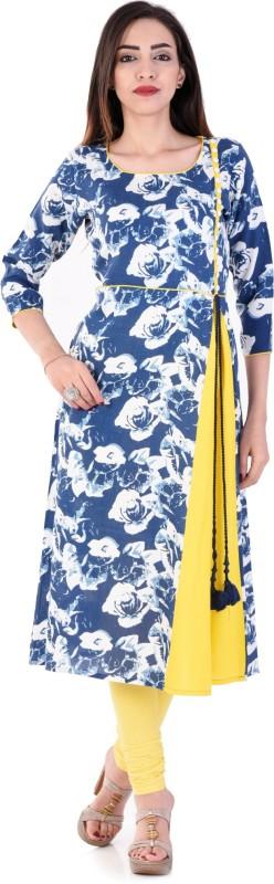 Style N Shades Floral Print Women's A-line Kurta(Blue)