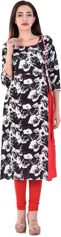 Style N Shades Floral Print Women's A-line Kurta(Black)