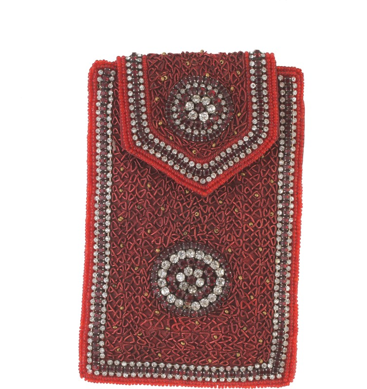 Vama Fashions Mobile Pouch for Women/girls to carry phone,cards&other Stuff. Potli(Red)